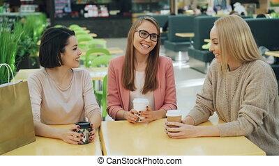행복하다, 숙녀, 커피점, 그룹, 간담, 착석, 쇼핑, concept., 나이 적은 편의, 웃음, 젊음, ...
