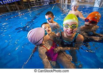 행복하다, 순간, 에, 수영 풀, 와, smilling, 아이들