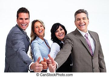 행복하다, 실업가, 와, thumbs.
