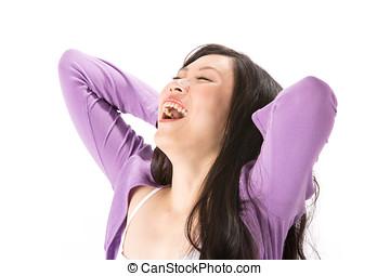 행복하다, 아시아 사람 여자