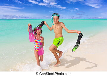 행복하다, 아이들, 통하고 있는, 바닷가