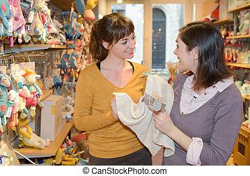 행복하다, 어머니, 쇼핑, 에, 장난감 상점