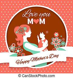행복하다, 어머니, day., 카드, 와, 아름다운, 실루엣, 의, 엄마와 아기, 에서, 포도 수확, 스타일