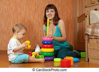행복하다, 엄마와 아기, 놀이, 와, 장난감