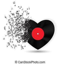 행복하다, 연인 날, 카드, 와, 심장, 음악, 노트., 벡터, 삽화