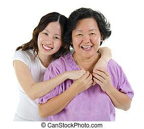 행복하다, 연장자, 어머니, 와..., 성인, 딸