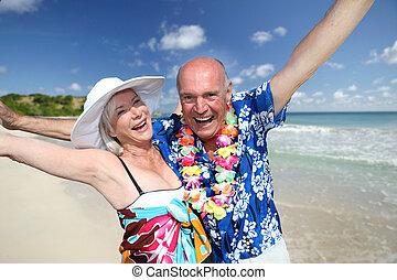 행복하다, 연장자 한 쌍, 에, 열대 바닷가