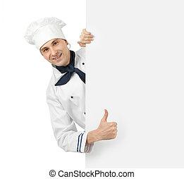 행복하다, 요리사, 전시, 위로 엄지손가락, 표시