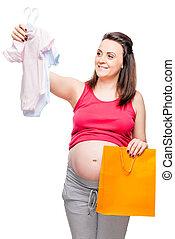 행복하다, 임신하고 있다, 숙녀, chooses, 몸, 치고는, a, 소년, 또는, 소녀, 통하고 있는, a, 백색 배경
