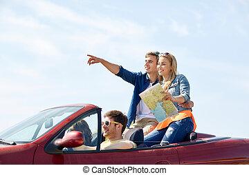 행복하다, 친구, 운전, 에서, 카브리오레, 차