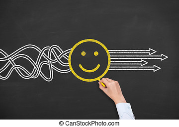 행복하다, 해결, 개념, 통하고 있는, 칠판