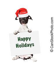 행복하다, 휴일, 강아지, santa, 표시