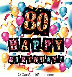 행복하다, 80, 생일, 기념일, 년