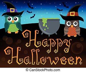 행복하다, halloween, 표시, 와, 올빼미, 1