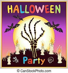 행복하다, halloween, card., 배경, 바람 빠진 타이어, design., 벡터, 삽화, 키드 구두, 원본