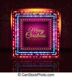 행복하다, lights., 명랑한, 카드, 새로운, image., 크리스마스, 벡터, 만든, 구조, 년