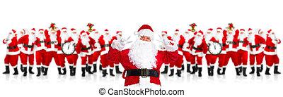 행복하다, santa, claus., 크리스마스, 파티.