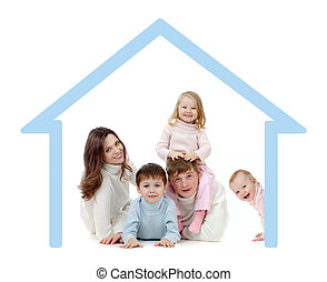 행복한 가족, 에서, 그들, 자기 자신의, 가정, 개념