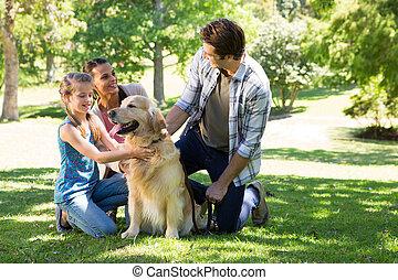행복한 가족, 와, 그들, 개, 공원안에