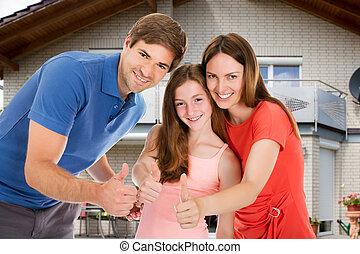 행복한 가족, 전시, 위로 엄지손가락, 표시