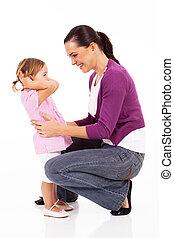행복한 엄마, 와..., 어린 소녀, 백색 위에서