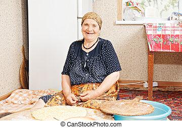 행복한 여자, 빵 굽기, bread