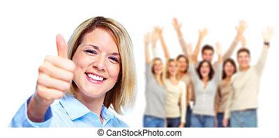 행복한 여자, 와..., 그룹, 의, 사람.