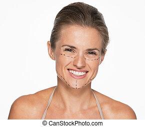 행복한 여자, 와, 성형 수술, 기호, 통하고 있는, 얼굴