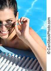 행복한 여자, 통하고 있는, 여름, 에서, 웅덩이