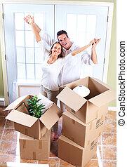 행복한 커플, 안으로 이동하는, a, 새로운, house.