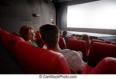 행복한 커플, 영화를 보는 것, 와..., 말하는 것, 에서, 극장