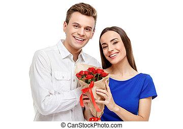 행복한 커플, 통하고 있는, 연인 날