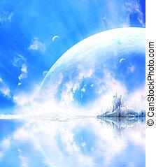 행성, 공상, 조경술을 써서 녹화하다