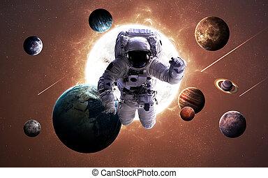 행성, 심상, system., nasa., 성분, 태양의, 이것, 공급된다, 결의안, 은 선물한다, 높은, 심상