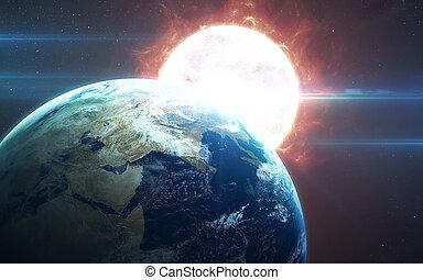 행성, 전시, 성분, 별, 공급된다, 이것, 지구, 공간, 암층, clouds., 높은, 들판, nasa, 세계, 지구, 보기., 결의안, 심상