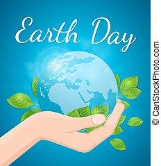 행성 지구, 잎, 녹색, 손