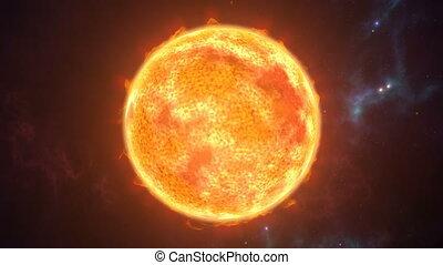 행성, 타는 것, 태양, 우주의, scene., 지방의 정제, 4k, 생명을 불어 넣어진다, 3차원