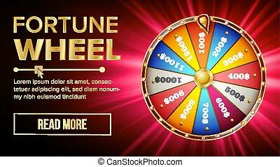 행운의 휠, vector., 도박을 하다, 기회, leisure., 다채로운, 노름하는, wheel., 대성공, 지레로 움직이다, 개념, 배경., 밝은, 삽화