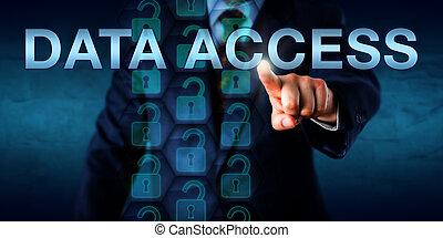 행정관, 미는 것, 자료, 접근, 스크린 위다