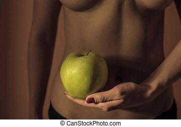 향하여, 건강한, 여성, 애플, 개념, 생활 양식, 배경, diet., body., 여성의 것, 허리, 성적 매력이 있는