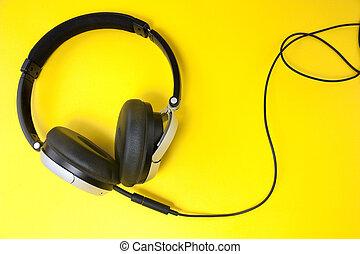 헤드폰, 통하고 있는, 황색