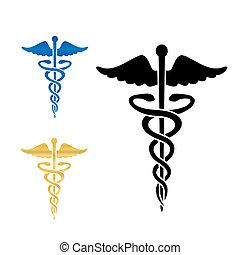 헤르메스의 지팡이, 의학 상징, 벡터, illustration.
