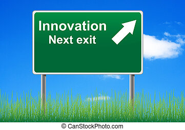 혁신, 도로 표지, 통하고 있는, 하늘, 배경, 풀, underneath.