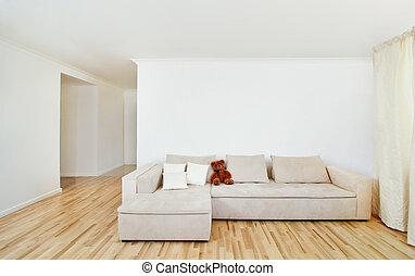 현대, 가정의 실내, 와, 비어 있는, 벽