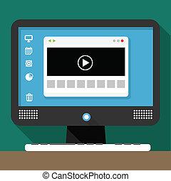 현대, 개인용 컴퓨터, 와, 환경, 브라우저, 창문, 통하고 있는, 탁상용 컴퓨터