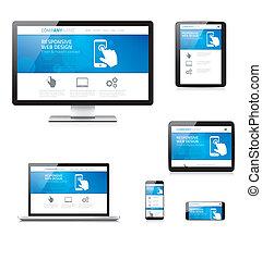 현대, 대답하는, 웹 디자인, comput