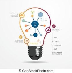 현대, 디자인, 빛, 점, 최소의, 스타일, infographic, 본뜨는 공구, /, 양철통, 이다,...