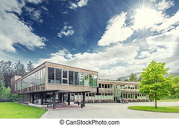 현대, 유지할 수 있는, 와..., 생태학의, 재목, 오피스 빌딩