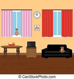 현대, 유행, 내부, 방