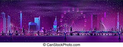 현대, 주요 도시, 밤, 조경술을 써서 녹화하다, 만화, 벡터